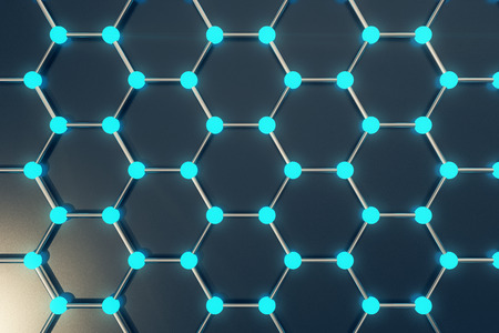 superconductivity: 3d rendering abstract nanotechnology hexagonal geometric form close-up, concept graphene atomic structure, concept graphene molecular structure