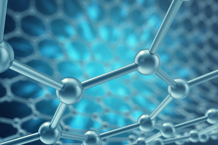 superconductivity: 3d rendering nanotechnology hexagonal geometric form close-up, concept graphene atomic structure, concept graphene molecular structure