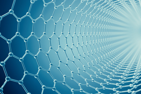 allotrope: 3d rendering abstract tube nanotechnology hexagonal geometric form close-up, concept graphene molecular structure