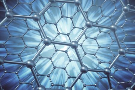 nanoparticle: 3d rendering abstract nanotechnology hexagonal geometric form close-up, concept graphene molecular structure