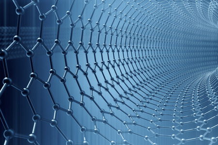 3d rendering abstract nanotechnology hexagonal geometric form close-up, concept graphene atomic structure, concept graphene molecular structure.