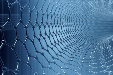 3d rendering nanotechnologie abstraite hexagonale forme géométrique close-up, la structure atomique concept de graphène, structure moléculaire concept de graphène.