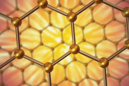 atomic structure: 3d rendering nanotechnology hexagonal geometric form close-up, concept graphene atomic structure