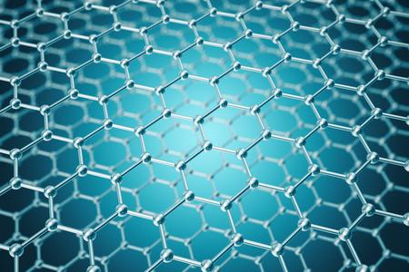 3 d レンダリング抽象的なナノテクノロジーの六角形の幾何学的形状のクローズ アップ、コンセプト グラフェン原子構造、概念グラフェンの分子構