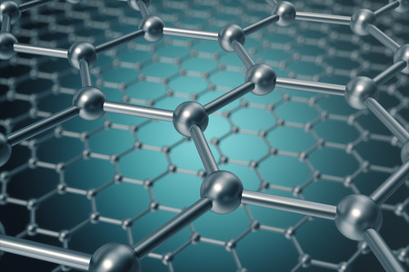 superconductivity: 3d rendering abstract nanotechnology hexagonal geometric form close-up, concept graphene molecular structure. Stock Photo