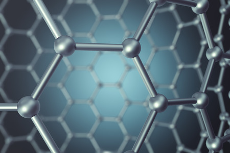 allotrope: 3d rendering abstract nanotechnology hexagonal geometric form close-up, concept graphene molecular structure. Stock Photo