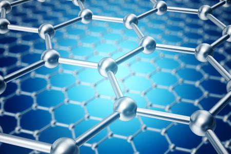 3D-rendering abstracte nanotechnologie zeshoekige geometrische vorm close-up, concept grafeen atomaire structuur, concept grafeen moleculaire structuur. Stockfoto