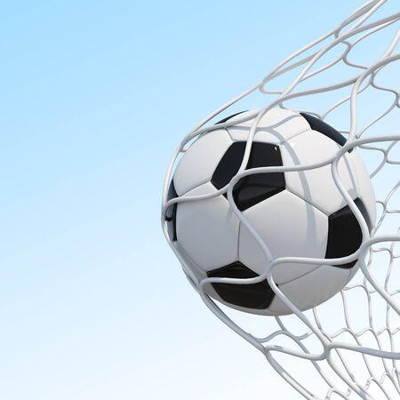 soccer net: Soccer ball in net on sky background. 3D illustration