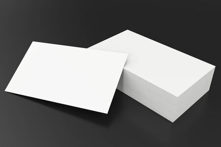 Business cards blank mockup template on balck background 3d business cards blank mockup template on balck background 3d rendering stock photo colourmoves