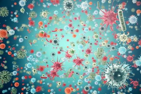 Hepatitis, H1N1, HIV, FLU, AIDS viruses abstract background. 3d rendering