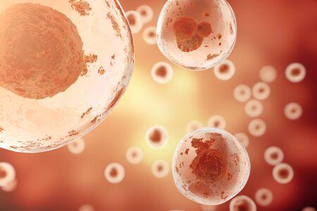 セルの赤色の背景。生物と生物学、科学、医学の分子研究 dna。3 d レンダリング 写真素材