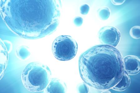 Human or animal cells on blue background. Medicine scientific concept. 3d rendering
