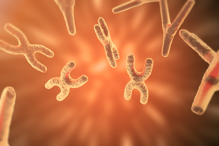 chromosomes: Chromosomes on scientific background. Life and biology, medicine scientific concept with focus effect. 3d rendering Stock Photo