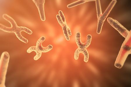 cromosoma: Los cromosomas en el fondo científica. La vida y la biología, la medicina concepto científico con efecto de enfoque. Representación 3D Foto de archivo