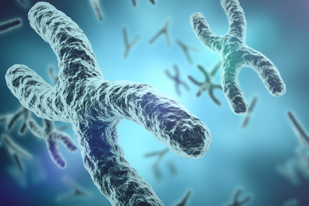 chromosome x y: Chromosomes on scientific background. Life and biology, medicine scientific concept with focus effect. 3d rendering Stock Photo