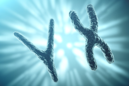cytosine: XY-chromosomes on background, medical symbol gene therapy or microbiology genetics research with with focus effect. 3d rendering