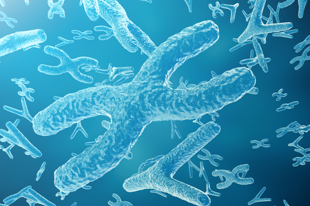 chromosomes: Science background with Chromosomes. Medicine scientific concept. 3d rendering Stock Photo
