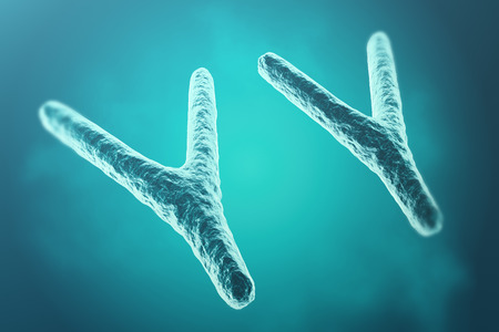 telomere: Chromosomes on scientific background. Life and biology, medicine scientific. 3d rendering