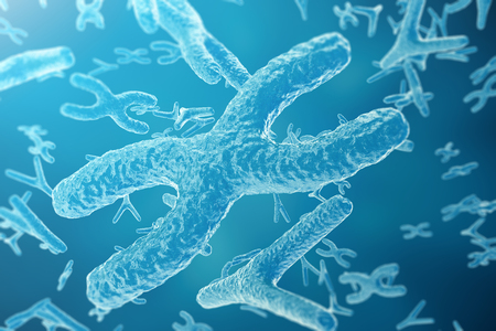 chromosomes: Chromosomes on scientific background. Life and biology, medicine scientific concept with focus effect, 3d rendering Stock Photo
