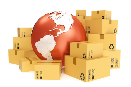 package sending: Cardboard box shipping and worldwide delivery business concept, earth planet globe. 3d rendering.