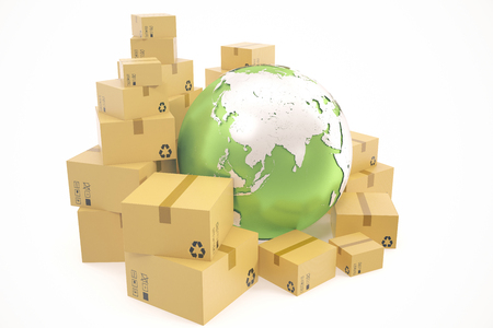 Cardboard box shipping and worldwide delivery business concept, earth planet globe. 3d rendering.