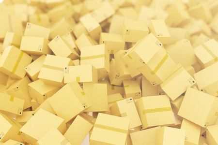 Stack of cardboard delivery boxes or parcels background. 3d rendering