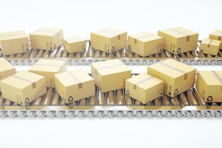 Packages delivery, packaging service and parcels transportation system concept, cardboard boxes on conveyor belt, 3d rendering