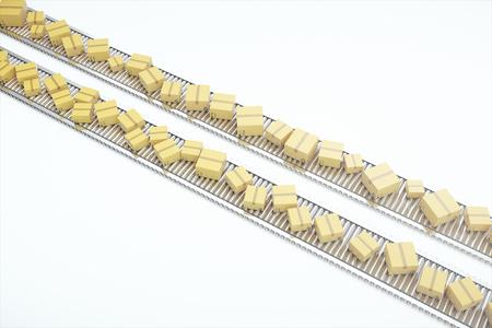 stockpile: Packages delivery, packaging service and parcels transportation system concept, cardboard boxes on conveyor belt, 3d rendering