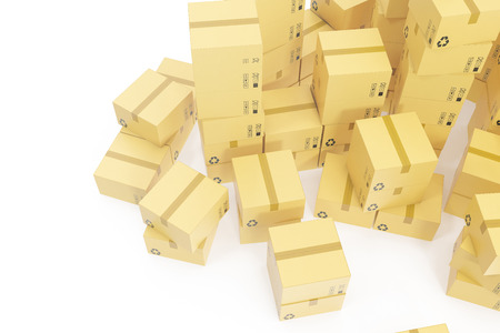 Stack of cardboard boxes isolated on white background for the delivery of business concept. 3d rendering
