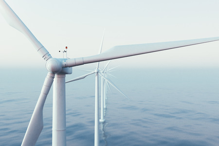 Wind farm turbines caught in sunset sky. Beautiful contrast with the blue sea. ecological concept. 3d rendering
