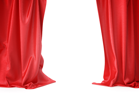 Red silk curtains for theater and cinema spotlit light in the center. 3d rendering