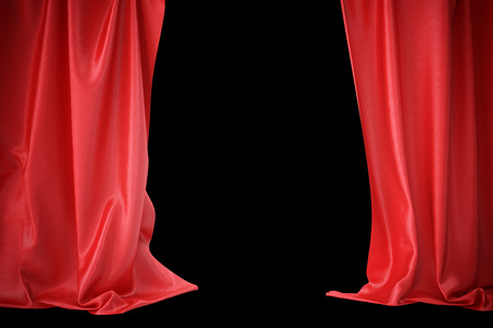 spotlit: Red silk curtains for theater and cinema spotlit light in the center. 3d rendering
