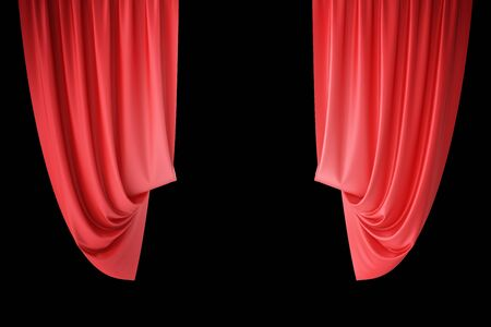 red theater curtain: Red velvet stage curtains, scarlet theatre drapery. Silk classical curtains, red theater curtain. 3d rendering