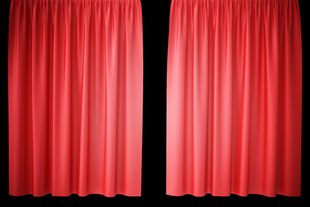 classical theater: Red velvet stage curtains, scarlet theatre drapery. Silk classical curtains, red theater curtain. 3d rendering