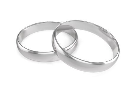 Two silver engagement or wedding ring isolated on white background, 3d rendering Stock Photo