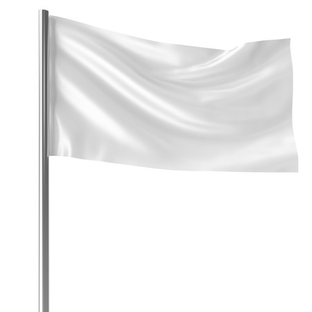 surrendering: White flag on flagpole flying in the wind empty mock-up, flag isolated on white background. Blank Mock-up for your design projects, 3d rendering Stock Photo