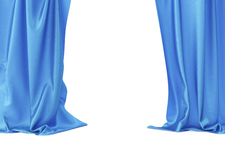 classical theater: Blue velvet stage curtains, scarlet theatre drapery. Silk classical curtains, blue theater curtain. 3d rendering