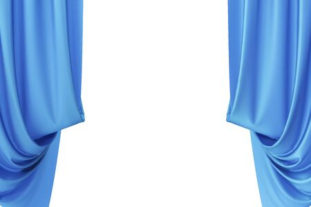 spotlit: Blue silk curtains for theater and cinema spotlit light in the center, 3d rendering