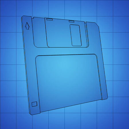 salvaging: Floppy Disk blue print, thin line illustration, black outline symbol on blue background, 3d rendering Stock Photo