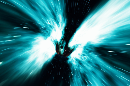 wormhole: Across the universe. Traveling in space. Time travel. Scene of overcoming the temporary space in cosmos, 3d rendering