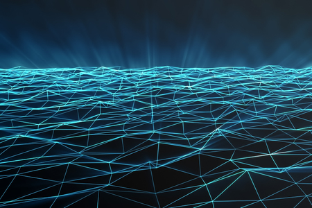 Abstract polygonal space low poly with connecting dots and lines. Futuristic background. Connection structure, 3d rendering