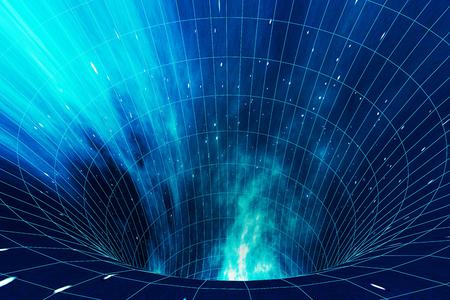 Resumen velocidad túnel urdimbre en el espacio, agujero de gusano o agujero negro, escena de superar el espacio temporal en el cosmos, 3d Foto de archivo