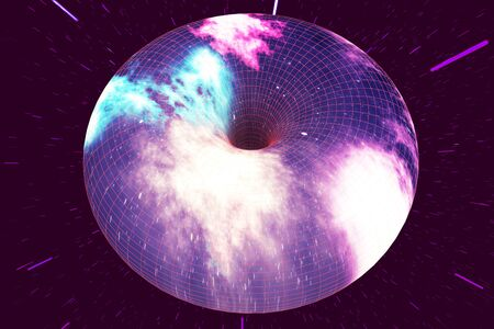 Star Warp or Hyperspace, abstract speed tunnel warp in space. Across the universe, 3d rendering