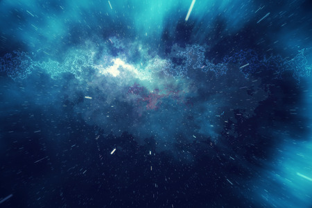 hyperspace: Starry outer space background texture with nebula. Colorful starry night sky outer space background, 3d rendering