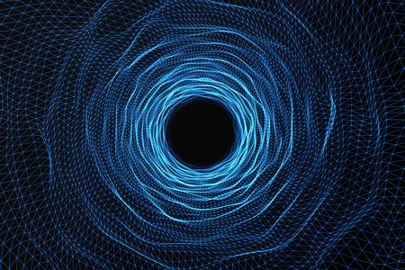 Agujero de gusano cósmico, concepto del viaje espacial, túnel en forma de embudo que puede conectar un universo con otro, representación 3d Foto de archivo - 73064000