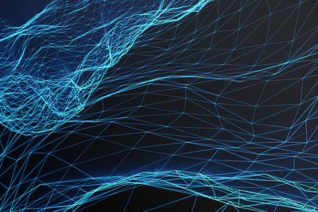 Abstract polygonal space low poly dark background with connecting dots and lines. Connection structure, shine effects, 3d rendering