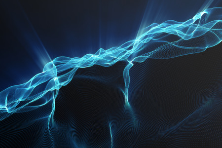Landscape background. Cyberspace landscape grid. 3d technology. Abstract landscape on black background with light rays, 3d rendering