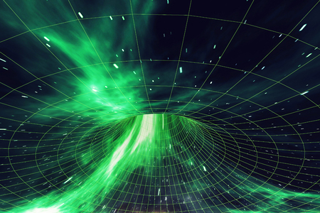 Wormhole in space, interstellar warp, traveling trough space and time, 3d rendering
