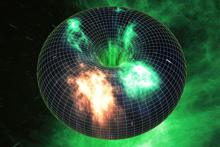 wormhole: Abstract speed tunnel warp in space, wormhole or black hole, scene of overcoming the temporary space in cosmos, 3d rendering