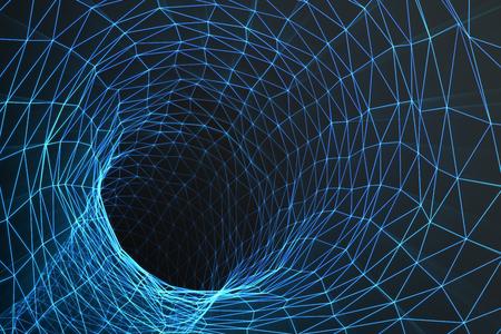 Esprit de ver cosmétique, concept de voyage spatial, tunnel en forme d'entonnoir qui peut relier un univers à un autre, rendu 3D